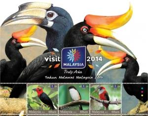 bird on stamp-Malaysia 2014