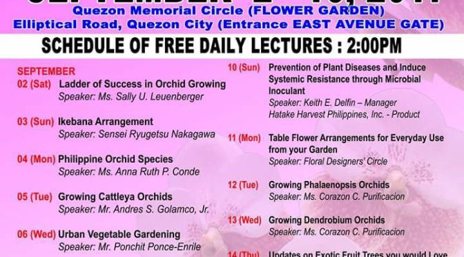 Schedule of Daily Lectures at the 71st Mid-Year Philippine Orchid Society Show